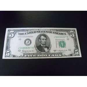 1950 B $5 Bill    Federal Reserve Note    Kansas City Bank