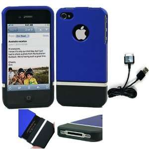 Blue Black Two Piece Detachable Top Bottom Hard Case for