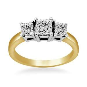 Three Stone Princess Cut Diamond Ring in 18K Two Tone Gold