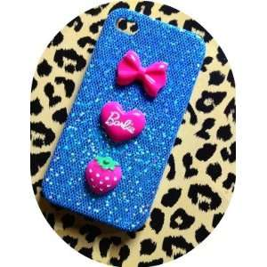 Blue / Neon Pink Sparkle Barbie Love Heart & Strawberries