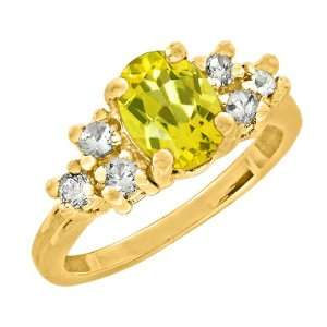 1.30 Ct 7X5 Oval Canary Mystic Topaz Yellow Gold Ring
