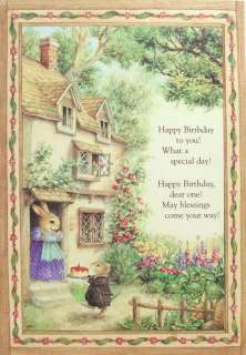Mouse Rabbit Birthday Cake Cottage Greeting Card Susan Wheeler