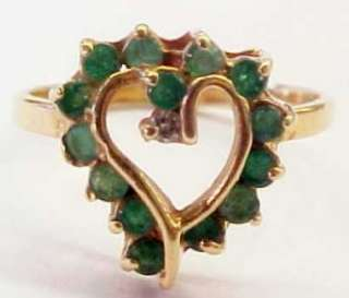 50ctw Emerald / Diamond 14KT Solid Gold Heart Ring ~ 7