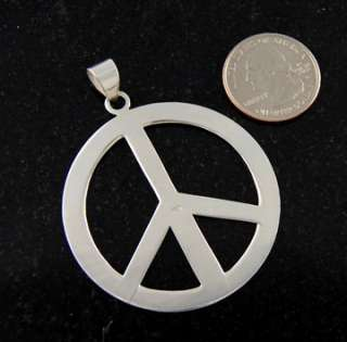 Sterling Silver Large Peace Sign Necklace Pendant Charm .925 Solid