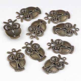 10x Brass Antique Bronze Big Eye Owl Charms Beads Pendants Drops Craft