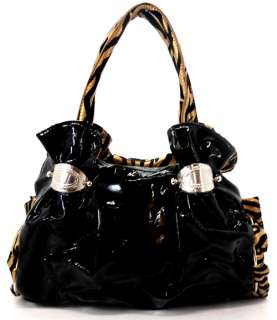 NEW RHINESTONE ZEBRA FLOWER HOBO HANDBAG PURSE BLK GOLD