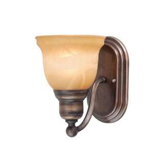 NEW 1 Light Wall Sconce Lighting Fixture, Parisian Bronze, Amber
