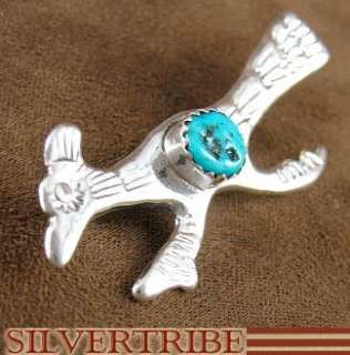 Navajo Indian Turquoise Sterling Silver Roadrunner Pin |