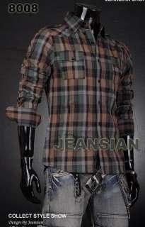 VVW Designer Mens Military Plaid Dress Shirt Top S M L XL 8008 USA