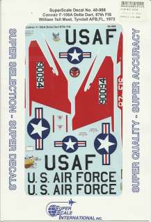 48 SuperScale Decals USAF F 106A Delta Dart 87th FIS William Tell