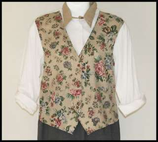 TAPESTRY BEIGE FLORAL VEST 2FER WHITE SHIRT TOP COTTON POLY L