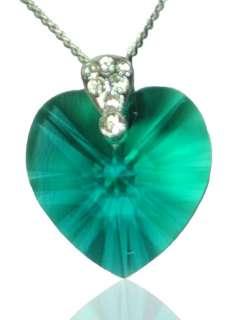 925 Silver Swarovski Crystal Heart Pendant  10 Colors W/Box