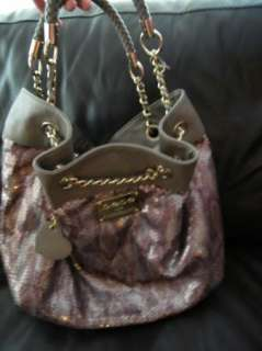 BEBE bag purse handbag SATCHEL pocketbook hobo leatherett sequin