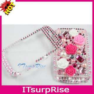 Bling Diamond Hard Case Cover Pink Rose for Blackberry Curve 8520