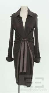 Ferragamo Purple Wool & Silk Tie V Neck Dress Size 42 NEW $1270