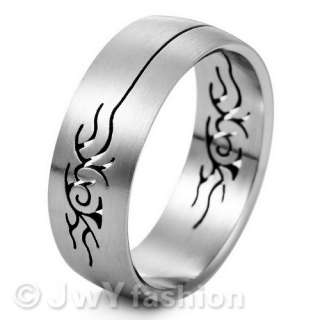 Size 8 12 Dragon MEN Silver Stainless Steel Ring ve271