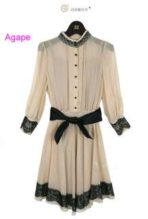 D1585 Korean Lady Style Bow Belt Lace Chiffon Dress