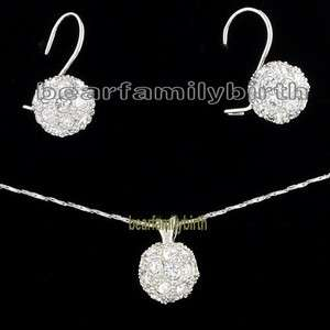 18K gold Gp Swarovski Crystal ball jewelry set 660