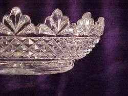 1820 IRISH CUT GLASS BOWL DEEP DIAMOND POINT