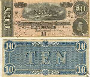1864 $10 CONFEDERATE STATES CIVIL WAR CURRENCY NOTE