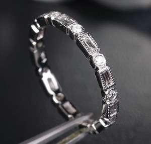 77ct DIAMOND 14K WHITE GOLD WEDDING ETERNITY BAND RING Unique