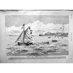 1889 Advertisement Beechams Pills Medicine Yacht Boats