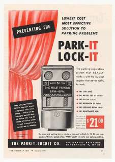 1950 Parkit Lockit Park It Lock It Parking Meter Ad