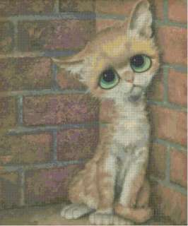 1970s Retro Poor Kitty w/ Big Eyes CrossStitch Pattern