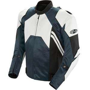 Joe Rocket Radar Leather Race Jacket   42/White/Gunmetal Automotive