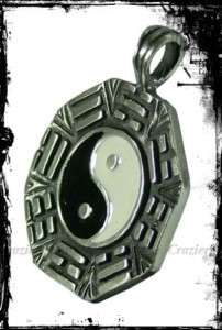 Yin Yang Symbol Lucky Pendant Necklace Pewter F193