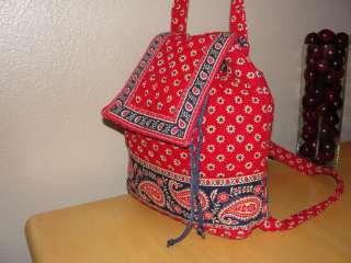 Vera Bradley Americana Red Backpack Shoulder Bag Purse Tote Retired
