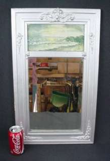 Antique Silver Wood Gesso Beveled Mirror Victorian