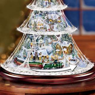 Kinkade Animated Crystal Tabletop Christmas Tree: Holiday Reflections