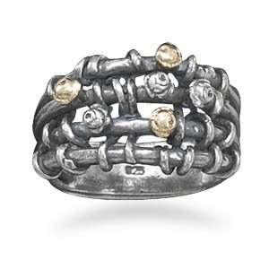 Oxidized Open Band Design Ring 3.5mm 14 Karat Gold Sterling Silver