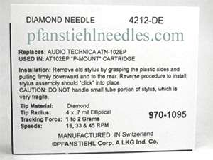 NEEDLE Realistic RX 1500 RT 1500 Radio Shack 212 DE