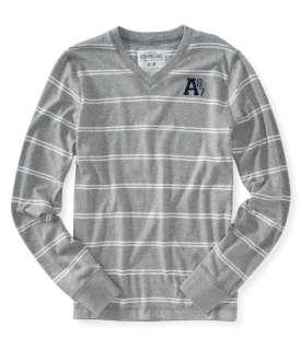 mens v neck striped long sleeve t tee shirt   Style # 2202