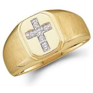Mens Diamond Cross Ring 10k Yellow Gold Anniversary Band