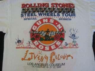 Vtg ROLLING STONES GUNS N ROSES TOUR T SHIRT concert L