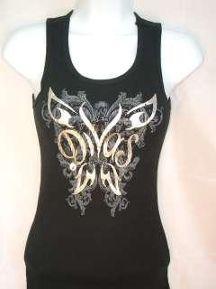 WWE DIVAS Butterfly Womens Black Tank Top Shirt New