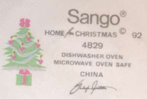 Sango Home For Christmas Dinner Plate Pink Hearts Tree 1992