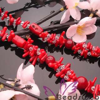 Beautiful Crystal Glass & Red Coral Beads Necklace 20L