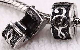 20Clef Music Bead Stopper Charm Bead Fit Bracelet AA727