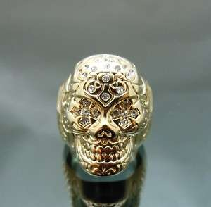 Pirate Skull Gold GP Crystal Forehead Eye Punk Ring NEW