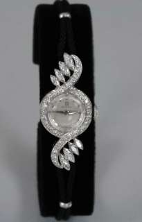 14k SOLID WHITE GOLD Omega ladies watch, 1.7CT Genuine Natural