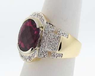 Natural 12x10mm Rubellite Tourmaline Daimonds Solid 18k Gold Cocktail