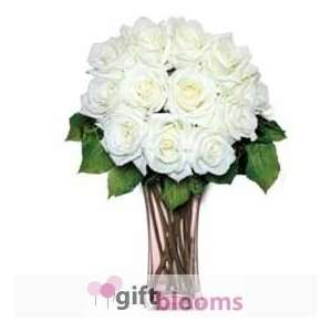 12 White Long Stem Roses  Grocery & Gourmet Food