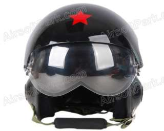 Chinese Military Air Force Jet Pilot Helmet w/ Two Visor Black |