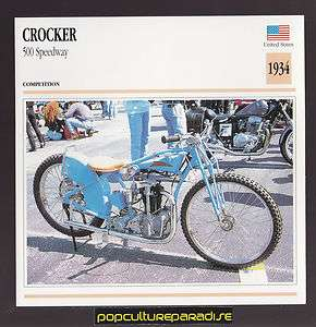 1934 CROCKER 500 SPEEDWAY American Bike MOTORCYCLE ATLAS PHOTO CARD