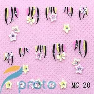 MC 20 3D flower Nail art sticker