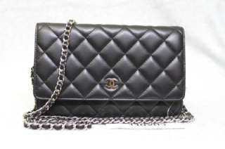 On a Chain Black Classic Quilted Leather WOC Messenger Bag New